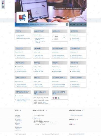 La page d'accueil de l'administrateur du site web