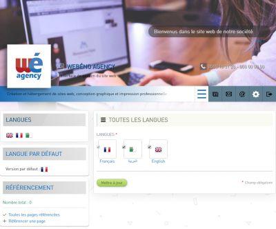 Les langues du site web