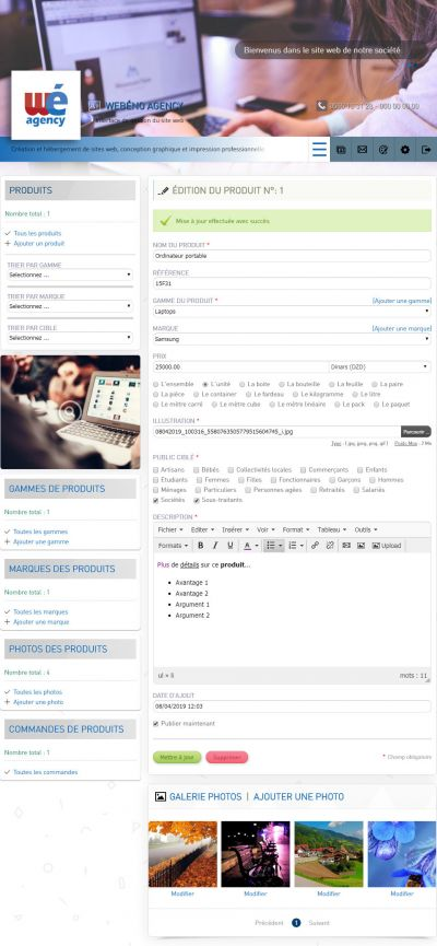 Gestion des modules (Ex: Page Produits)